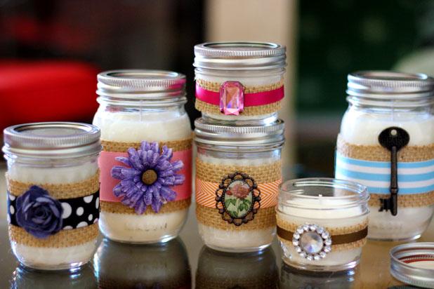 Decorative DIY Candles in Mason Jars