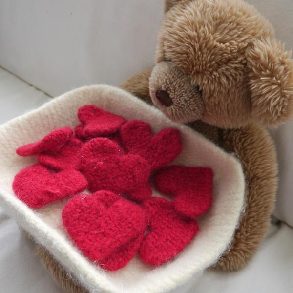 Felted Basket of Hearts