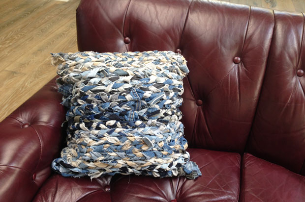 DIY Reclaimed Braided Denim Throw Pillows