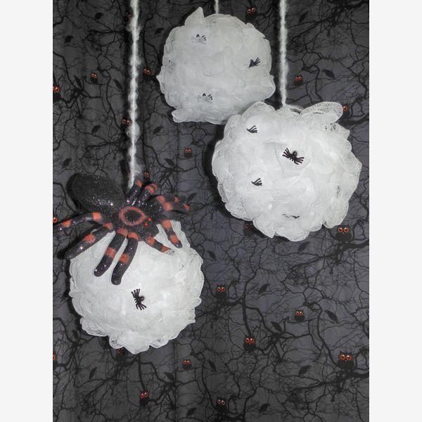How to Make Spooky Spider Web Pom Poms