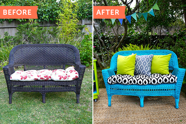 Before & After: Updating an Old Wicker Chair