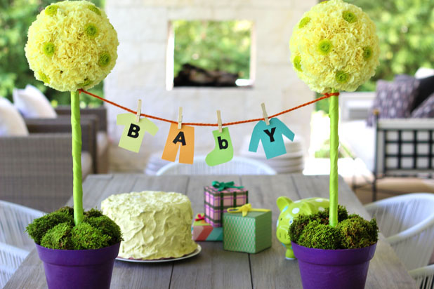 Dress Up Your Baby Shower with a Stunning Topiary Centerpiece