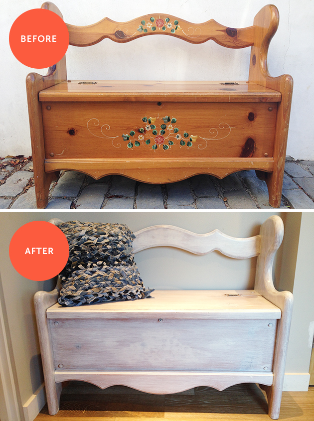 Before & After: Wooden Storage Bench Makeover