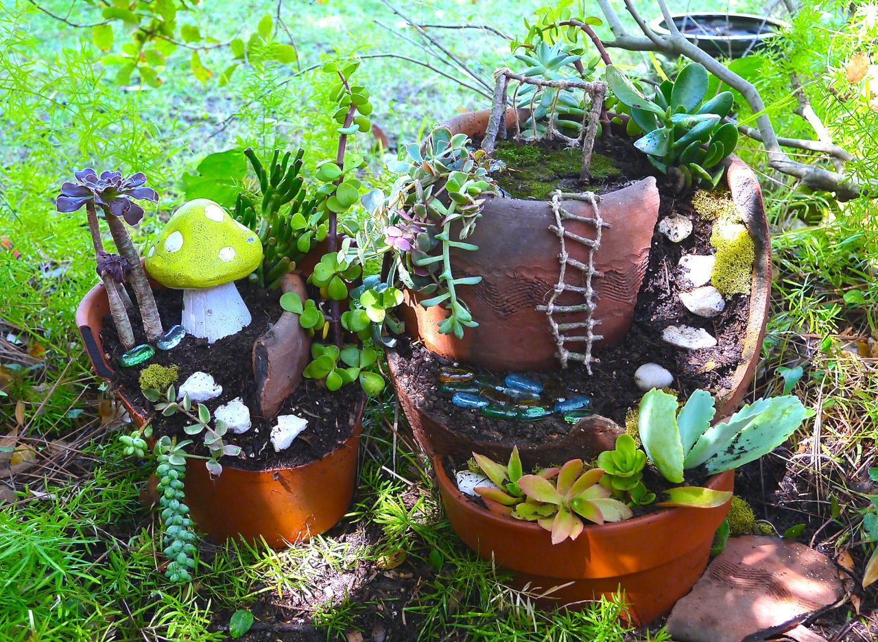 How to Make a Fairy Garden out of a Broken Pot