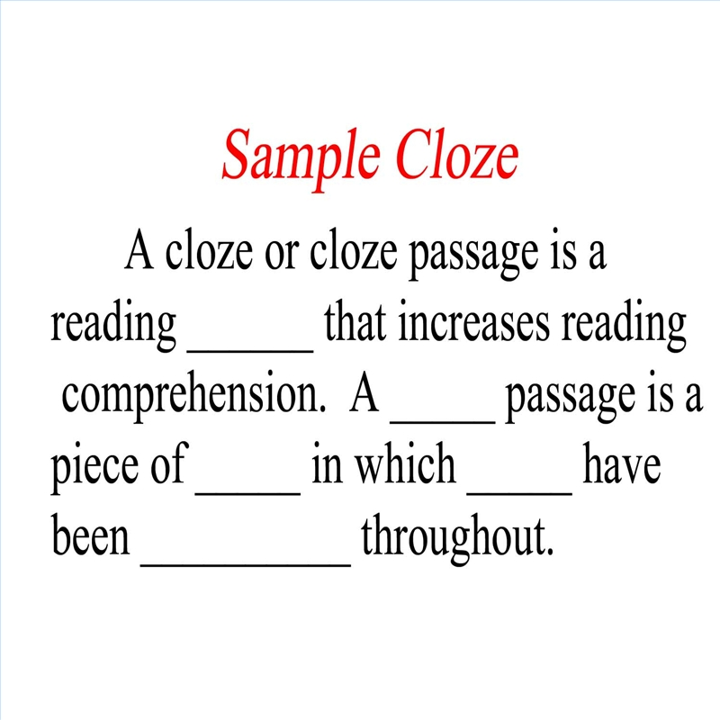 How To Make A Cloze Passage Synonym