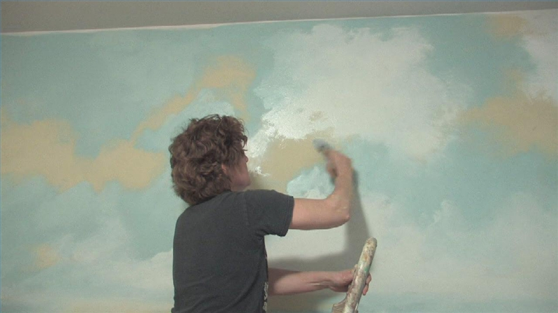 Video how to paint clouds on a ceiling ehow for How to make clouds on ceiling