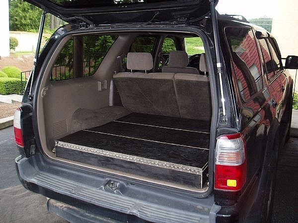 Car Storage Shelves How To Build Low Profile Storage Boxes In Your Suv It  Still Runs