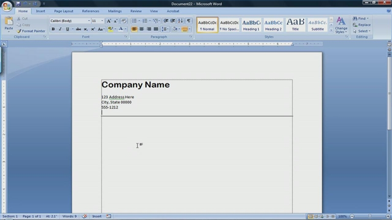 Video: How to Create a Letterhead in Microsoft Word 2007 | eHow