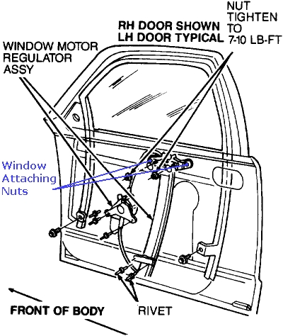 Fix Window Falls Down Door 6167627 on nissan an fuel regulator