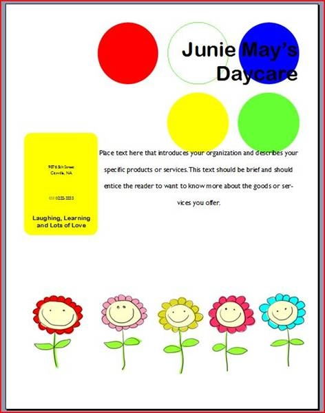 Daycare Flyer Babysitting Daycare Flyer Template Design Preschool